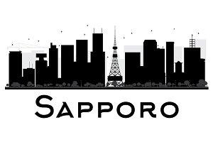 Sapporo City Skyline Silhouette