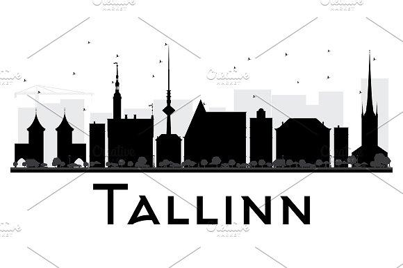 Tallinn City Skyline Silhouette