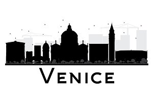 Venice City Skyline Silhouette