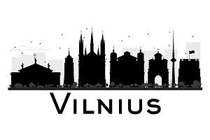 Vilnius City Skyline Silhouette