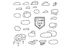 Set of Hand Drawn Doodle Clouds