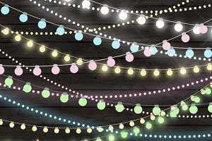 Soft Pastel String Lights Clipart