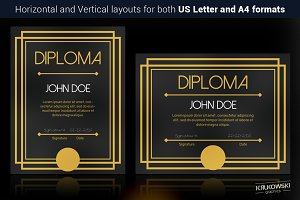 Art Deco Diploma Template