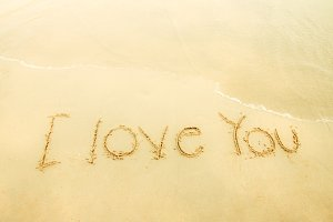 I love you on sand