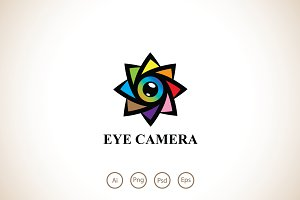 Eye Camera Flower Logo Template