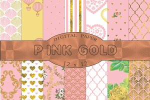 Pink and gold digital paper