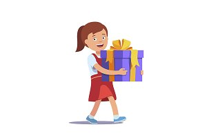Girl holding big gift box
