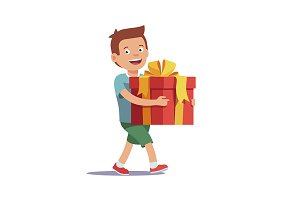 Boy holding big gift box