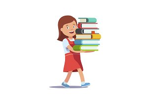Girl carrying big pile of books
