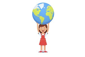 Girl holds planet earth over head
