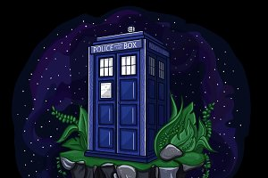 Tardis on flying island in space