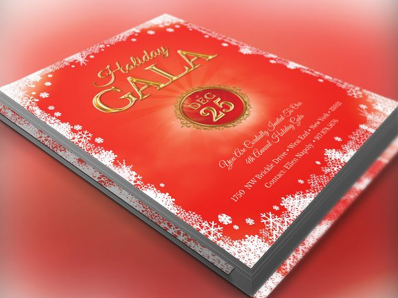 Holiday Gala Christmas Invitation Flyer Templates Creative Market – Gala Invitation Template