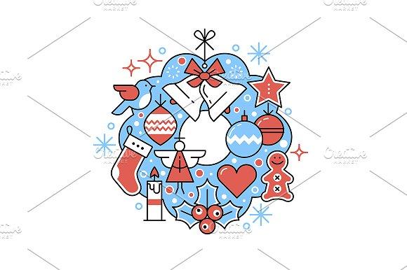 Christmas greeting card wreath