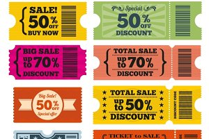 Sale tickets vector set