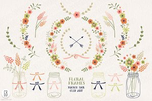 Floral frames, mason jars, flowers