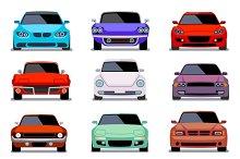 Urban traffic vehicles, car icons
