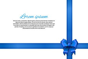 White gift card with blue bow