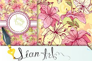 Tiger lilly - card and seamless patt