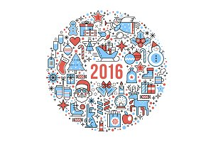 Happy 2016 New Year composition