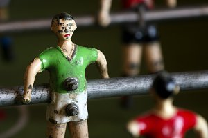 metal soccer players, table football