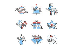 Merry Christmas symbols collection