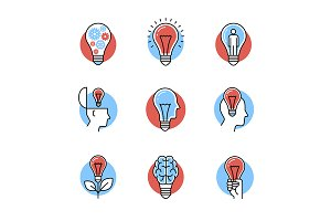 Collection of idea light bulb