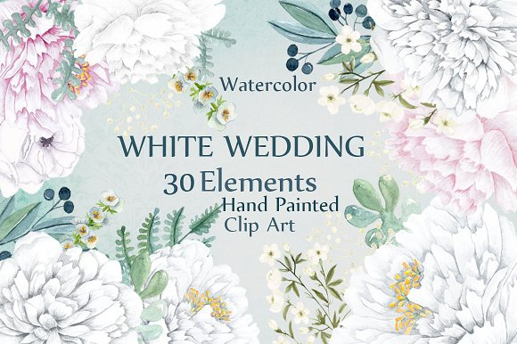 Watercolor white Peonies clipart