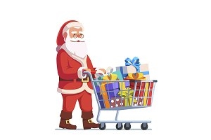 Santa Claus pushing shopping cart