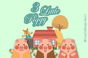 Digital Clipart 3 Little Piggy