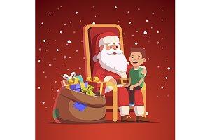 Santa Claus holding boy on his knees