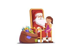 Santa Claus holding girl on knees