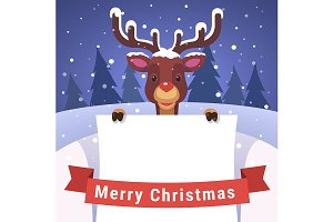 Baby reindeer with Christmas card
