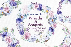 Watercolor wreaths and bouquets