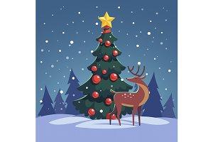 Decorated christmas tree, reindeer