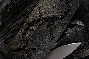 Rustic black bread set