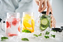 Fresh homemade lemonades with ice