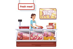 Fresh meat stand in a supermarket