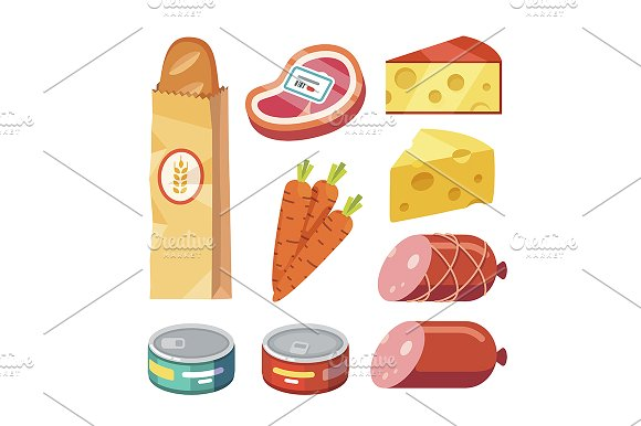 Meat, cheese, and canned food