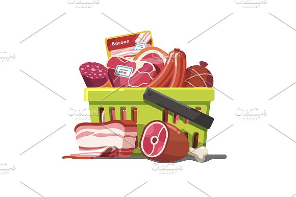 Shopping basket full of meat in Illustrations
