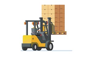 Forklift truck carrying boxes