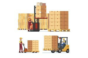 Warehouse workers loading goods