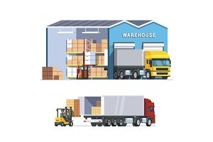 Logistics warehouse with truck