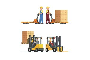 Warehouse workers with forklifts