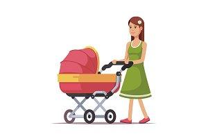 Woman walking with bright pink pram