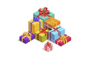 Pile of bright gift boxes