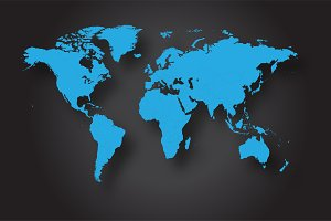 World map vector blue
