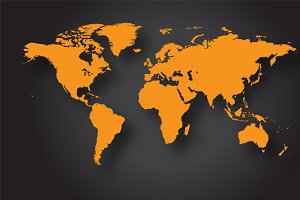 World map vector orange