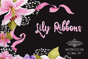 Lily Ribbons Watercolor Graphics