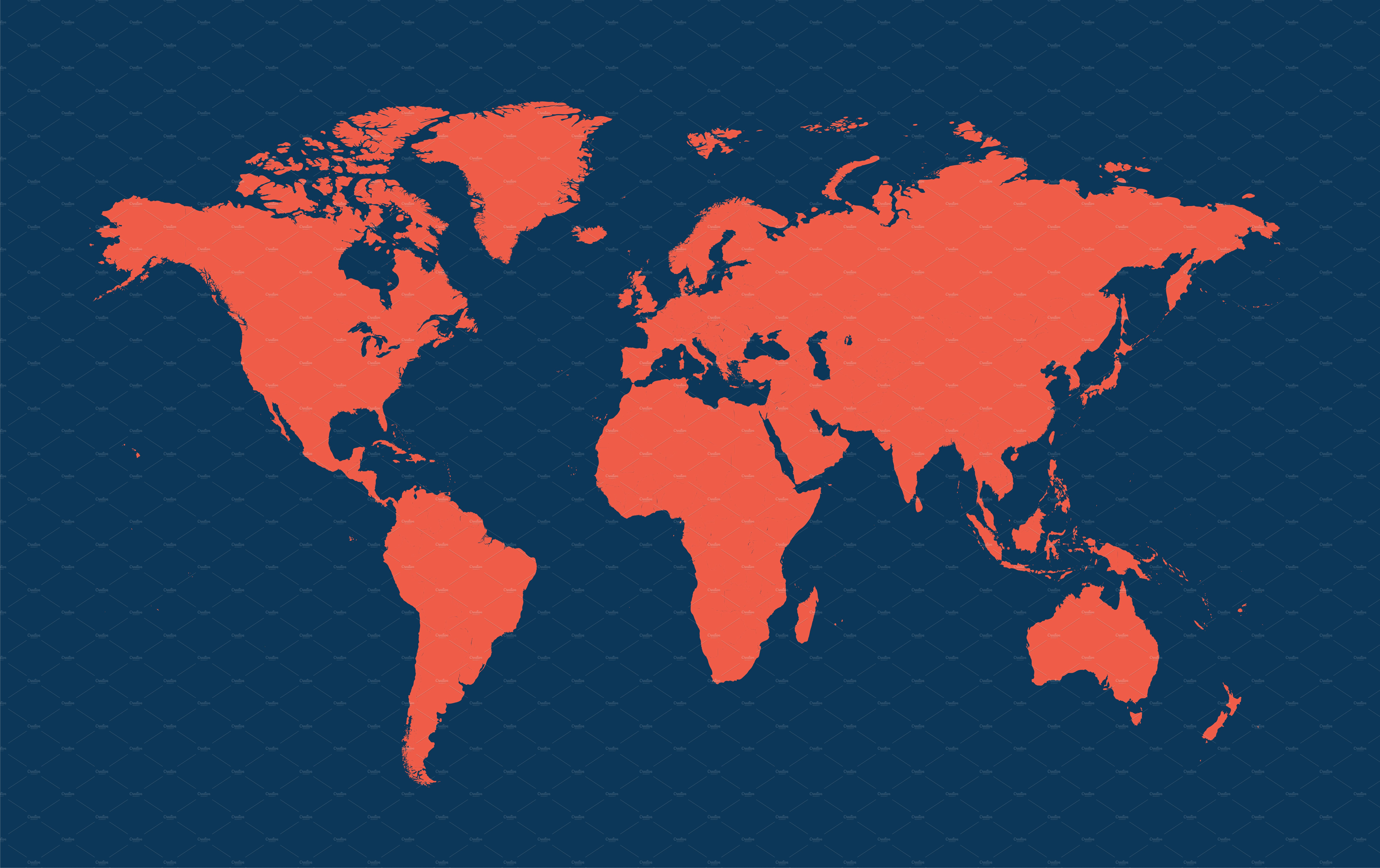 World Map Blue And Red Vector Web Elements Creative Market
