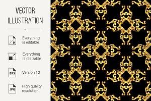 Asian golden pattern on black
